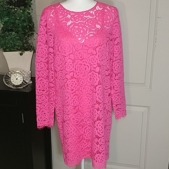 Dkny Florescent Pink Long Sleeve Lace Dress